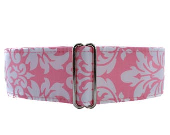 Pink Martingale Dog Collar, 2 Inch Martingale Collar, Damask Dog Collar, Pink Dog Collar, Damask Dog Collar, Martingale Dog Collar