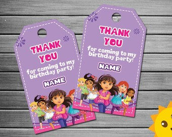 Dora and Friends Thank You Tags, Dora Birthday Favor Tags, Dora Party Tag, Dora Favor Tag, Dora Thank You Printables, Dora and friends Label