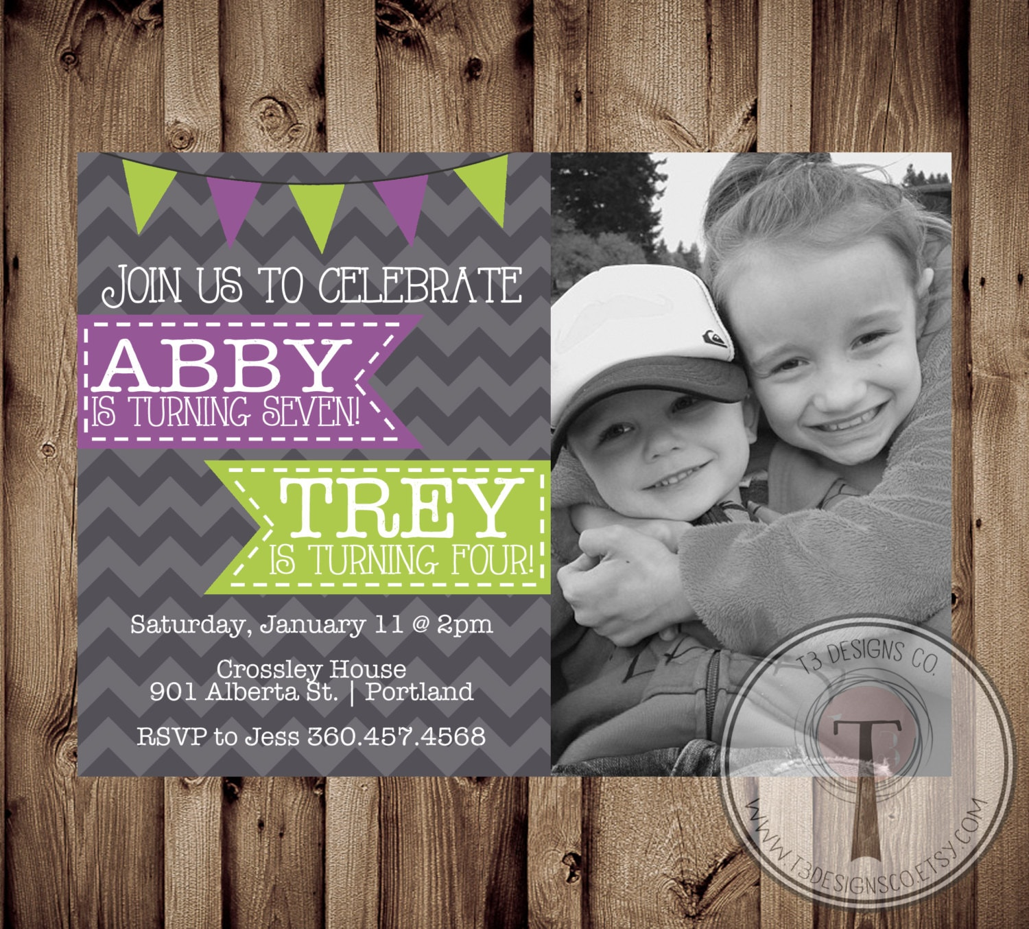 Joint birthday party invitation boy and girl photo birthday invite joint birthday party invitation boy and girl photo birthday invite photo birthday invitation double birthday brother sister joint party filmwisefo