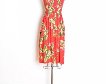 vintage 80s dress, hawaiian print dress, sun dress, red dress, tropical print, smocked dress, 80s clothing, floral print dress, XS S