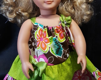 """Brown and Greens and satin bows in a Summer Sundress for your 18"""" Doll!"""