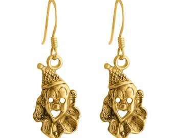 Laughing Clown Face Circus Joker Funny Comedian Mime Drop Dangle Hook Earrings #14K Gold Plated over 925 Sterling Earrings #Azaggi E0517G