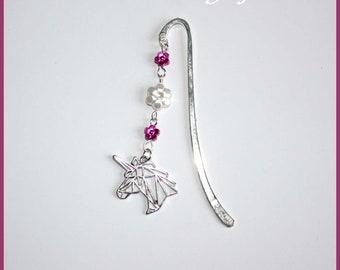 Unicorn, flower beads charm bookmark