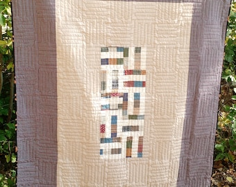 Throw Size Handmade Quilt in Neutral Colors