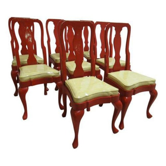 8 Vintage Custom Chinese Chippendale Paint Distressed Dining Room Side Chairs