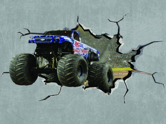 Elegant Monster Truck Cracked Wall Effect Sticker Mural Decal Graphic