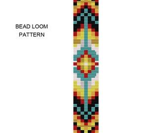 Tribal Square Stitch Bracelet Pattern - Tribal2Square - Bead Loom Pattern