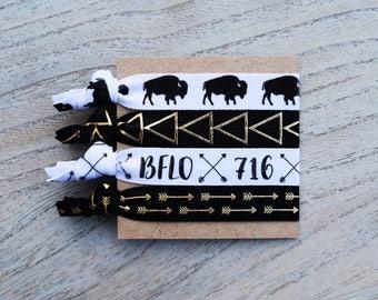 BFLO 716 - Black, White & Gold Hair Tie Set - Elastic Hair Ties - Hair Accessories - Hair Tie Bracelet - Hair Band - Buffalo - Arrows - FOE