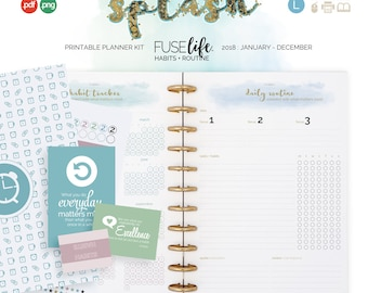 Printable Planner Habits and Routines Page Inserts > A4 + US Letter - Printable PDF Refills : FUSElife Splash planner pages (0614)