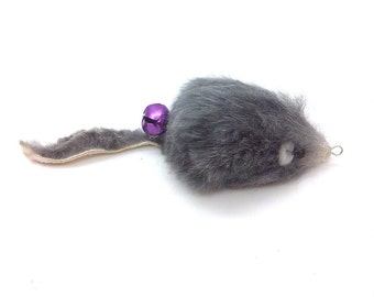 Cat Teaser Wand Refill with Real Rabbit Fur Mouse - Gray