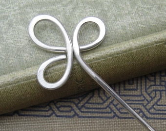 Trinity Clover Loops Sterling Silver Hair Stick, Silver Hair Pin Shawl Pin, Shawl Stick, Beauty Gift, Bun Holder, Hair Accessories, Women