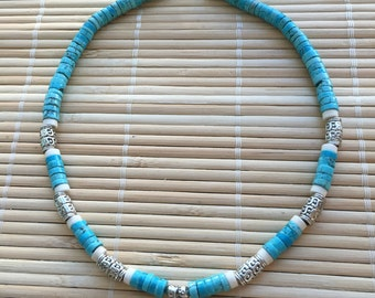 Unisex Arrowhead Turquoise Choker Necklace  Boho Chic Surfer Casual Jewelry for Man or Woman Native American
