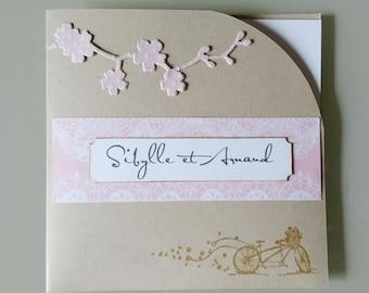 Wedding invitation romantic vintage - wedding Invitation - wedding kraft and pink