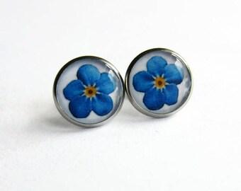 Forget Me Not Earrings - Blue Flower Earrings - Floral Earrings - Floral Jewellery - Gift for Her - Something Blue - 14mm