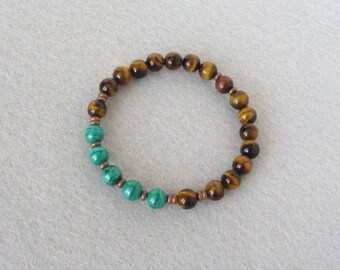 Malachite Bracelet, Tiger Eye Bracelet, Green Bracelet, Men Bracelet, Stone Bracelet, Beaded Bracelet, Elastic Bracelet, Men Gift