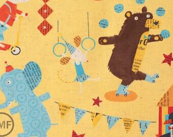 Fat Quarter Big Top in Yellow, Circus by Nancy Wolff for Kokka Fabrics, Cotton/Linen Blend Fabric
