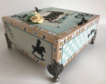 Altered Cigar Box Baby Boy Home Decor