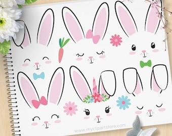 Hase Gesichter, Kaninchen Clipart, Einhorn, Emoji, Briefmarken, Ostern Hase, Stickerei, Aufkleber, kommerzielle Nutzung, Vektor ClipArt, SVG-Dateien schneiden