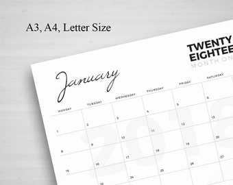 2018 Big Calendar, Large Wall Calendar, A3 Wall Calendar,Printable Monthly,Printable Calendar, 2018 Calendar,Planner, Monday Start, TOS_43