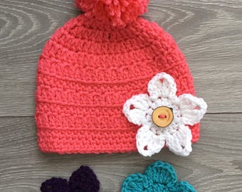Ready to Ship - Papaya Crochet Grace Hat with PomPom & 3 Interchangeable Flowers - 6-12 Month Size