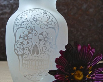 Sugar Skull Vase - Glass Etched Vase - Day of the Dead - Etched Glass Gifts - Custom Glass Etching - Unique Glass Vase - Sandblasted - #2