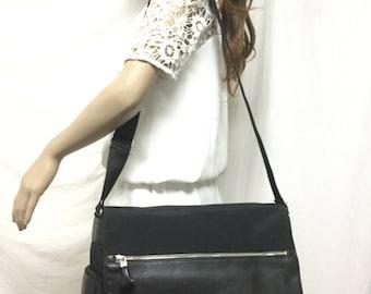 Espirit,Messenger Bag, Nylon, Faux Leather ,Shoulder Bag,black
