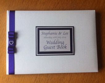 Satin and Pearly Heart Wedding Guest Book Personalised with Names and Date