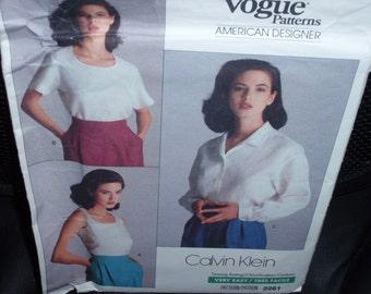 Vogue 2261 Shirt 3 Designs  American Designer Calvin Klein Size 6-8-10 New - Uncut