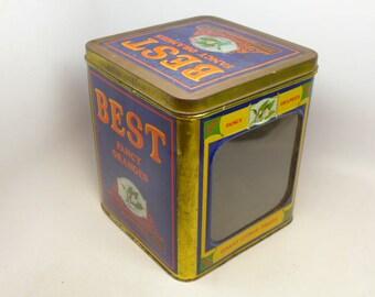 Vintage Best Fancy Oranges Tin - Large Advertising Tin Container - Best Oranges - Vista California