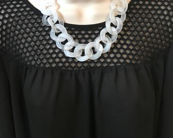 Translucent White Clear Chunky Chain Link Housewife Resin Statement Necklace