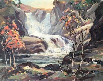 "Autumn Waterfall Landscape Painting / Original Signed ""AJ Miller"" Mountain Landscape Art"