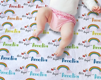 Rainbow baby gift etsy rainbow baby blanket personalized negle Image collections