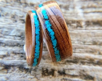 Walnut and Turquoise Matching Wedding Band Set, Black Walnut Wedding Band Set with Blue Turquoise, Wooden Promise Ring Set, Wood Rings
