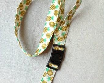 Cord Choker, Keychain, badge with detachable bandana fabric pineapple