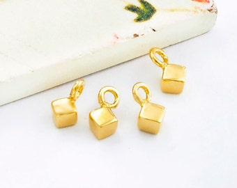 4 of 925 Sterling Silver 24K Gold Vermeil Style Tiny Cube Charms 3 mm. :vm0779