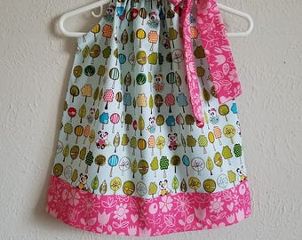 Pillowcase Dress with Pandas Sunny Happy Skies Riley Blake Spring Dresses baby dresses toddler dresses girls dress with Flowers Kids Clothes