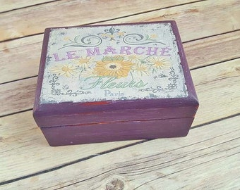 Jewelry Box Wood |  Purple Jewelry Box | Vintage Paris Label Print | Up-Cycled Jewelry Box | Eco Friendly Gift | READY TO SHIP