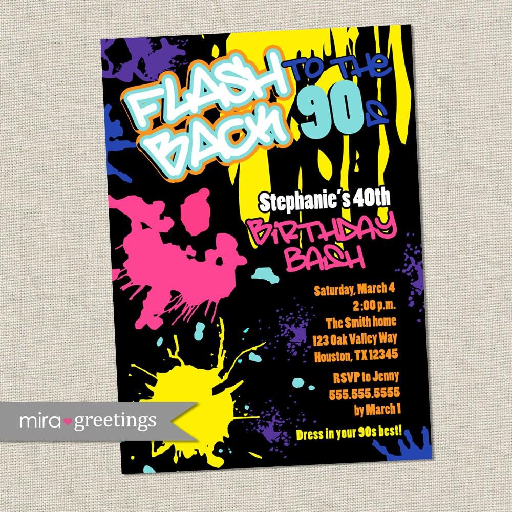 Graffiti Birthday Invitations - Neon Party Invitation - Retro 80s ...