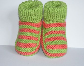 Hand knitted Baby Booties in 100% Organic Baby Cotton. Orange and Green