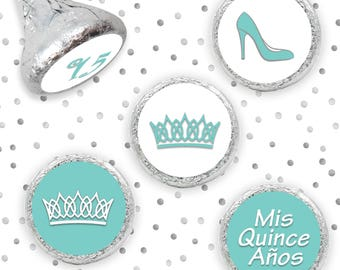 Quinceanera Blue Quince Theme Stickers - Hershey Kisses, Quince Mis Quince Anos 15, Quince Candy, Robins Egg Quince Princess - 324 Count