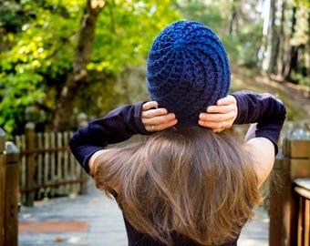 Crochet Beanie, Spiral Beanie, Handmade Beanie, Navy Beanie, Navy Hat, Crochet Hat, Spiral Hat, Woman Beanie, Woman Hat