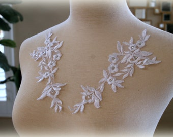 Set of White Beaded Lace Applique, Bridal Lace Applique, Custom Design, Couture Design, Dressmaking, Lace Jewelry GD-21335NBS