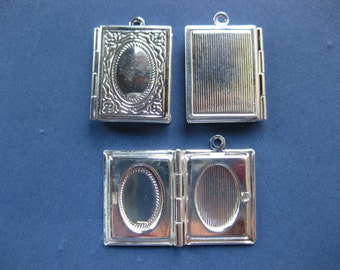 2 Book Charms - Book Pendants - Picture Locket Charm - Locket Pendant - Rectangular - Silver Plated - 26mm x 19mm -- (No.52-10556)