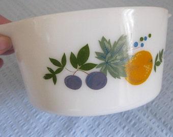 VINTAGE white milk glass JAJ  pyrex casserole dish unusual colourful pattern  a bit like Hawthorn unused condition