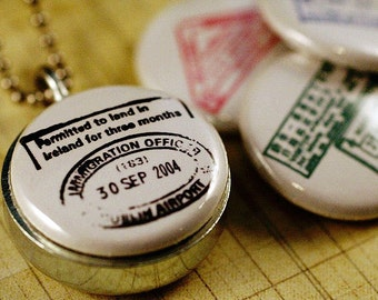 Small Locket - Passport Stamps Travel Locket - Magnetic Necklace - Interchangeable by Polarity