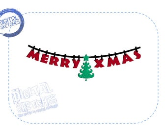 Merry Xmas Machine Embroidery Design Wishes Merry Christmas Holiday Christmas Tree Instant Download 3 Sizes