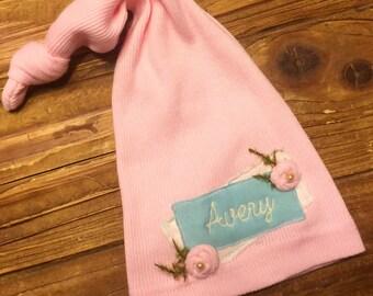 Newborn Hat - Newborn Girls - Personalized Newborn Hat - Newborn Knot HatBaby Name Hat - Hospital Hat - Baby Name Hat -Hospital Hat