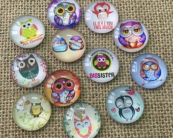 20pcs Handmade 8mm-25mm round photo glass cabochon glass dome For Earring Brooch Ring Necklace Bracelet