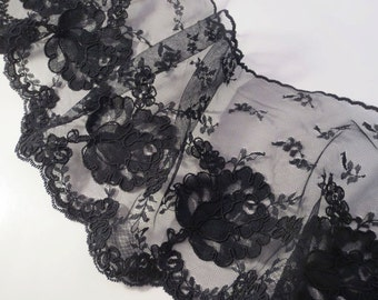 SPECIAL--Black Delicate Re-embroidered Single Edge Lace Trim--One Yard