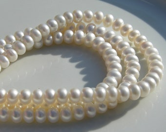 Beautiful 6mm White Button Freshwater Pearl Beads  FULL STRAND